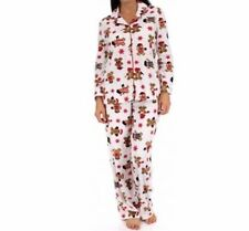 Karen Neuburger L KN Gingerbread Man Ivory Red Girlfriend Fleece Pajama's