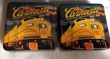 LOT Of 2 CARHARTT TINS KEEPING WORKERS SUPPLIED AND TRAINS ON TIME SINCE 1889