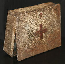 FIRST AID vintage steel medical hospital box ANTIQUE quack medicine modern sign