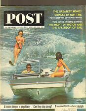 APRIL 25 1964 SATURDAY EVENING POST vintage magazine ==WATER SKIING bathing suit