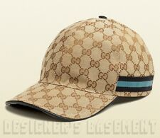 GUCCI beige XXL GG canvas Black & Blue WEB RIBBON Baseball Hat cap NWT Authentic