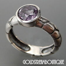 CLYDE DUNEIER 925 SILVER ROUND AMETHYST ANIMAL PRINT SOLITAIRE RING SIZE 7