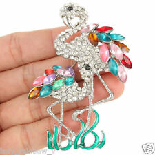 "Dual 3.07"" Bird Flamingo Drop Brooch Pin Multi Austrian Crystal Animal Art Deco"
