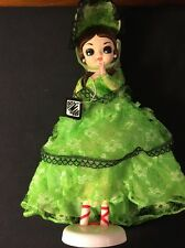 """Vintage Bradley Artmark Doll In Stand Big Eyes Green Hoop skirt 12"""""""