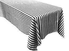 "1 pc Black White Striped 60x126"" RECTANGLE Satin TABLECLOTH Wedding Party SALE"
