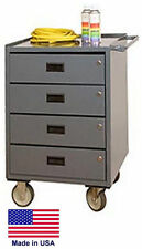 CABINET CART BENCH - Commercial - Locking Drawers & Worktop - 34H x 24W x 20D