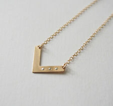 Chevron Bar 14K Gold Filled Pendant Necklace