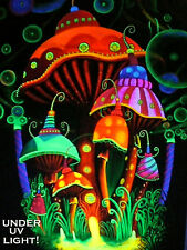 LARGE UV backdrop MADE TO ORDER psychedelic mushroom art/wall hanging/fluro/DJ