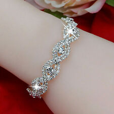 Silver Plated Ladies Austrian Crystal Bracelet Lady Infinity Rhinestone Bangle
