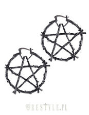 Restyle Branch Pentagram Gothic Punk Rock Occult Silver Jewelry Hoop Earrings