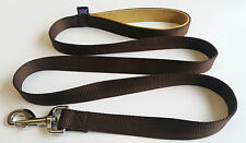 1.5m LONG DOG LEAD CHOCOLATE BROWN COLOUR, GOLD DOUBLE WEBB HANDLEs