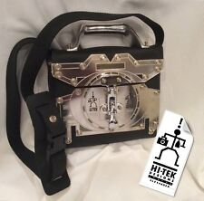 RARE Vintage 1980s HI-TEK DESIGNS London Alexander HANDBAG Black Rubber Aluminum