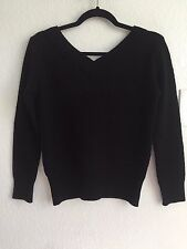 Cecil McBEE Japan Wool Black Metallic Knit Pullover Sweater Open Back Top M S 4