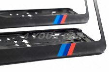 2x BMW M SPORT LOGO EXCLUSIVE EUROPEAN LICENSE NUMBER PLATE SURROUNDS HOLDERS