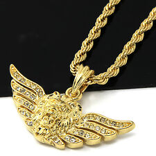 "Mens Gold Iced Long Wing Lion Face Pendant 24"" Rope Chain Hip Hop Necklace D503"