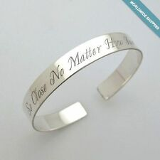 Personalized Bracelet - Sterling Silver Cuff Custom Engraved Unique Gift for Her