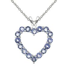 925 Sterling Silver 2ct TGW Genuine Tanzanite Open Heart Necklace