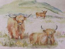 """Viaggio in tessuto lino / cotone """"Highland bovino"""" residuo 137cm Wide x29cm lungo (90)"""