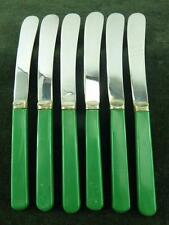 6 nice vintage butter Knives EPNS silver plated Green handles