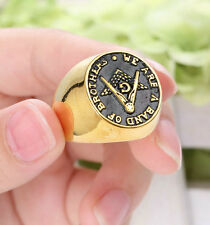 Size 9 Brothers Men's Gold Tone Master Free Mason Rhodium Plated Masonic Ring