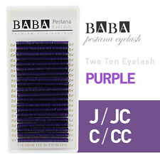 BABA False Silk Two-Tone Lashes Purple / Red / Blue JBCD Curl Eyelash Extension