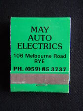 MAY AUTO ELECTRICS 106 MELBOURNE RD RYE 059 853737 GREEN MATCHBOOK