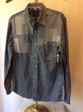 NWT $168  True religion Men's Patchwork Slim Denim Shirt  Slim Fit Size M