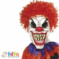 SCARY CIRCUS CLOWN OVER HEAD MASK WITH HAIR adults mens halloween fancy dress