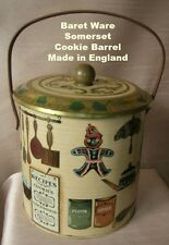 "Vintage Somerset Biscuit Barrel Tin  Made in England  "" Baret Ware """