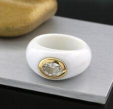 Ring Achat weiß mit weißem Topas 14kt/585 Gelbgold Wert 650 € NEU (5623)