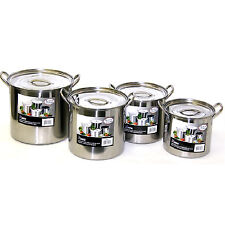 NEW Stainless Steel 8 Piece Stock Pot Set Cook Kitchen Durable Large Meals Nests