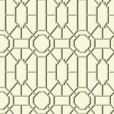 Williamsburg Geometric Lattice Black & Gold on Soft White Wallpaper WM2526
