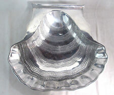 """Unique Serving Dish Tray Clam Shell Footed Silver-tone Pewter Alloy 15""""x13""""x2.5"""""""