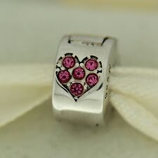 Authentic Chamilia 1430-0009 Jeweled Pink Heart Clip Lock Sterling Silver Bead