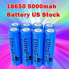 8pc 3.7v  5000mAh 18650 Rechargeable Li-ion Battery Blue Lithium Battery Cell US
