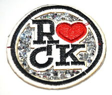 SPARKLY ROCK CHICK RED HEART TATTOO Embroidered Sew Iron On Cloth Patch APPLIQUE