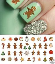 Gingerbread Man/Cookies #2 Christmas Nail Art Waterslide Decals - Salon Quality!