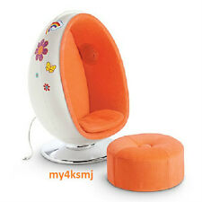 American Girl Julie's EGG CHAIR SET + OTTOMAN for doll REAL working SPEAKERS