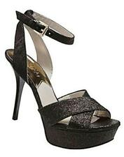 Women's Michael Kors GIDEON Platform Heels Sandals Leather Black Glitter US 7.5