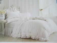New Rachel Ashwell SIMPLY SHABBY CHIC 3pc White Ruffle Lace Duvet Set-Full/Queen