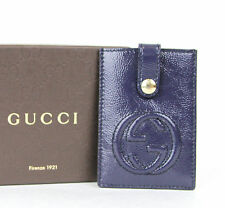 New Authentic GUCCI Soho Patent Leather Card Case Pouch Blue 338331 4233