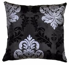 BLACK SILVER DAMASK SOFA BED LIVING DINING ROOM CUSHIONS COVERS 45x45cm 18X18