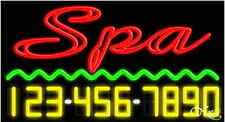 """NEW """"SPA"""" w/YOUR PHONE NUMBER 37x20 REAL NEON SIGN W/CUSTOM OPTIONS 15102"""