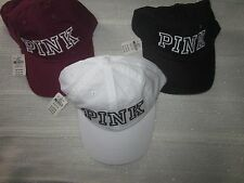 NWT Victoria's Secret PINK Embroidered Baseball Cap Hat~White, Burgundy or Black