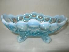 Blue aqua opalescent glass eyewinker pattern candy / jam soap dish sugar butter