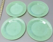 "Set of 4 Vintage Fire King Jane Ray Jadeite Jadite 7 3/4"" Salad Plates Oven Ware"
