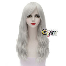 Silver White Lolita Women 55CM Long Curly Heat Resistant Cosplay Wig Halloween