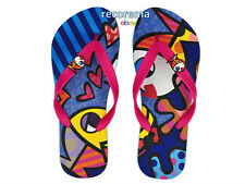 "ROMERO BRITTO  FLIP FLOP SIZE: 9/10  ""DEEPLY IN LOVE""   * NEW * MADE IN BRAZIL"