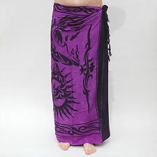 NEW UNISEX MENS WOMENS PURPLE BLACK SARONG BEACH POOL WRAP COVER UP SCARF/ sa017