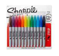 Sharpie Permanent Markers, Fine, Assorted 12 ea